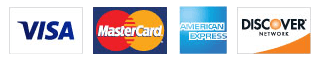 Image of Visa, MasterCard, American  Express, and Discover.